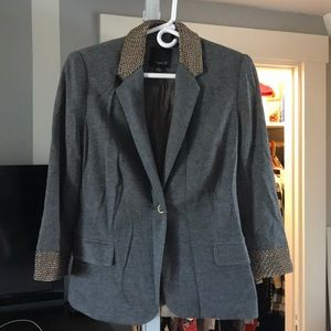 Adorable grey blazer with metal detailing